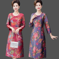 cheongsam Spring 2021 L [90 ~ 110 Jin can be worn], XL [110 ~ 125 Jin can be worn], 2XL [125 ~ 138 Jin can be worn], 3XL [138 ~ 150 Jin can be worn], 4XL [150 ~ 165 Jin can be worn], collect and give gifts, collect and give priority to delivery Red, purple three quarter sleeve long cheongsam daily