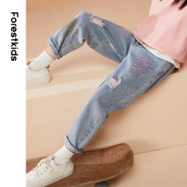 trousers Forest kids female 110cm 120cm 130cm 140cm 150cm 160cm 170cm blue spring and autumn trousers leisure time There are models in the real shooting Casual pants Leather belt middle-waisted other Don't open the crotch Cotton 85% polyester 14.3% others 0.7% FGZDP2650 Class B Jeans Summer 2021