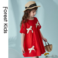 Dress gules female Forest kids 110cm 120cm 130cm 140cm 150cm 160cm 170cm Cotton 100% summer lady Short sleeve other cotton A-line skirt FKGBLYQ301 Class B Summer 2021 7 years old, 8 years old, 9 years old, 10 years old, 11 years old, 12 years old, 13 years old, 14 years old Chinese Mainland Hangzhou