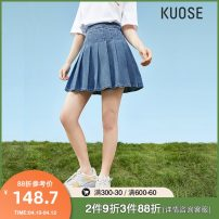 skirt Spring 2021 S M L Blue spare Short skirt Versatile High waist Pleated skirt Solid color Type A 18-24 years old KSI2101028 81% (inclusive) - 90% (inclusive) Kuose / wide cotton Cotton 86.7% polyester 10.1% others 3.2% Pure e-commerce (online only)