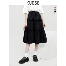 skirt Summer 2021 S M L Off white black black and white Middle-skirt commute High waist A-line skirt Solid color Type A 18-24 years old KSI2003006 More than 95% Kuose / wide cotton Korean version Cotton 100% Pure e-commerce (online only)