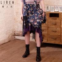 skirt Autumn of 2019 S,M,L,XL 32 sky blue Mid length dress commute Natural waist A-line skirt Type A 30-34 years old 1S353347R0 More than 95% Li Ren Village / Li Ren Fang Viscose Splicing Retro