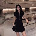 Women's large Summer 2021 black S [70-90 Jin] m [90-100 Jin] l [100-120 Jin] XL [120-140 Jin] 2XL [140-160 Jin] 3XL [160-180 Jin] 4XL [180-200 Jin] Dress singleton  commute easy thin Socket Short sleeve Korean version V-neck Ohmdana / odena Short skirt Other 100% Pure e-commerce (online only)