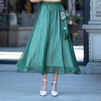 skirt Spring of 2019 Average size Black, blue, green Mid length dress commute Natural waist other Type H 18-24 years old 0697# 51% (inclusive) - 70% (inclusive) other Other / other other Embroidery ethnic style