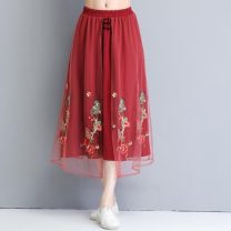 skirt Summer 2020 Average size Brick red Mid length dress commute Natural waist A-line skirt Decor Type A 8143# 31% (inclusive) - 50% (inclusive) other polyester fiber Bandage literature