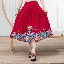 skirt Summer of 2019 Average size Black, Navy, red Mid length dress commute Natural waist Type A 18-24 years old 81% (inclusive) - 90% (inclusive) other Other / other hemp Embroidery ethnic style