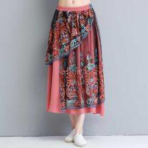 skirt Summer 2020 Average size Brick red Mid length dress commute Natural waist A-line skirt Decor Type A 8141# 31% (inclusive) - 50% (inclusive) other polyester fiber Gauze literature