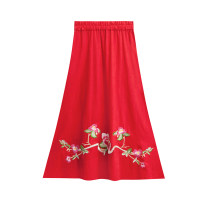 skirt Summer of 2019 Average size Black, red Mid length dress commute Natural waist A-line skirt Type A 3163# Other / other hemp ethnic style