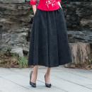 skirt Spring 2020 Average size black longuette Retro Natural waist Splicing style Solid color Type A 8601# 81% (inclusive) - 90% (inclusive) hemp