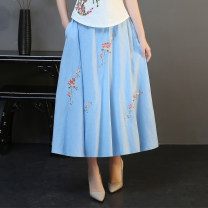 skirt Summer of 2018 Average size Black, white, light blue longuette Versatile A-line skirt Type A 71% (inclusive) - 80% (inclusive) Other / other hemp Embroidery