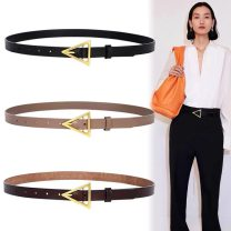 Belt / belt / chain Double skin leather female belt Versatile Single loop Youth, youth, middle age Pin buckle Geometric pattern Glossy surface 2cm alloy 108cm