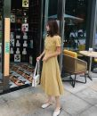 Dress Summer of 2019 yellow S,M,L,XL Mid length dress singleton  Short sleeve commute V-neck middle-waisted lattice Socket Princess Dress routine 18-24 years old Type X Other / other court cotton