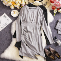 Dress Spring 2021 Black, light grey Average size Short skirt singleton  Long sleeves commute Crew neck High waist Solid color Socket Irregular skirt routine Others 18-24 years old Type A Other / other Korean version Splicing W730 81% (inclusive) - 90% (inclusive) other other