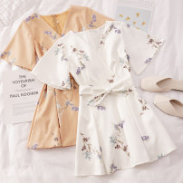 Dress Summer 2021 Dark blue, white, orange, light blue Average size Short skirt singleton  Short sleeve commute V-neck High waist Decor Socket A-line skirt other Others 18-24 years old Type A Other / other Korean version Q345 81% (inclusive) - 90% (inclusive) other other