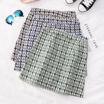skirt Spring 2021 S,M,L Black, blue, green Short skirt commute High waist A-line skirt lattice Type A 18-24 years old Q670 81% (inclusive) - 90% (inclusive) other Other / other other Korean version