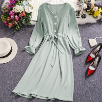 Dress Spring 2021 Black, Burgundy, green, pink Average size Mid length dress singleton  Long sleeves commute V-neck High waist Solid color Single breasted A-line skirt Lotus leaf sleeve Others 18-24 years old Type A Other / other Korean version K144 81% (inclusive) - 90% (inclusive) other other