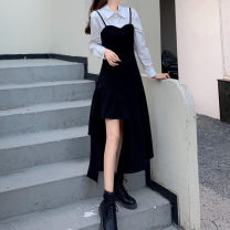 Dress Spring 2021 Black suspender skirt, off white shirt M [85-100 Jin], l [100-115 Jin], XL [115-130 Jin], 2XL [135-150 Jin], 3XL [150-170 Jin], 4XL [170-200 Jin] longuette Two piece set Long sleeves Sweet Polo collar middle-waisted Solid color zipper Irregular skirt puff sleeve 25-29 years old
