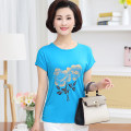 Middle aged and old women's wear Spring 2020 T-shirt easy singleton  40-49 years old Socket Crew neck routine