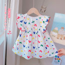 Dress Sweet love Class A Short sleeve Chinese Mainland female Other / other 12 months, 3 years, 3 months, 6 years, 18 months, 9 months, 6 months, 2 years, 5 years, 4 years Princess Dress cotton Cotton 95% others 5% summer Love color 90cm,100cm,110cm,120cm,130cm