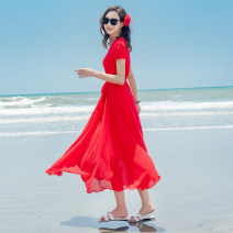 Dress Summer 2020 Red, black, blue, white, red long sleeves S,M,L,XL,2XL,3XL Mid length dress singleton  Short sleeve Sweet V-neck middle-waisted Solid color Socket Big swing routine Others 30-34 years old Type X Deming family Bow, tie, zipper More than 95% Chiffon polyester fiber Bohemia