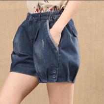 Jeans Summer of 2019 blue S,M,L,XL,2XL,3XL shorts Natural waist routine Cotton denim Dark color 96% and above