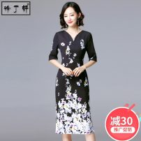 Dress Summer 2021 Flower + Black S M L XL XXL Mid length dress singleton  elbow sleeve commute V-neck High waist Decor Socket One pace skirt routine Others 30-34 years old Type H Xu Dingxuan lady printing 2577# More than 95% other polyester fiber Polyester 96% polyurethane elastic fiber (spandex) 4%
