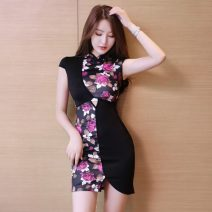 cheongsam Spring 2021 S,M,L,XL Picture color Sleeveless Short cheongsam ethnic style Low slit daily Round lapel Decor 18-25 years old Other / other 51% (inclusive) - 70% (inclusive)