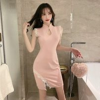 cheongsam Spring 2021 S,M,L Pink, black Sleeveless Short cheongsam ethnic style Low slit daily woman's dress buttoned down from right armpit Solid color 18-25 years old Piping 51% (inclusive) - 70% (inclusive)