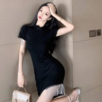 cheongsam Spring 2021 S, M black Short sleeve Short cheongsam Simplicity Low slit daily Oblique lapel Solid color 18-25 years old Piping A8218 51% (inclusive) - 70% (inclusive)