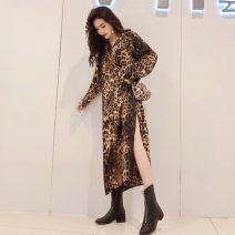 shirt Leopard Print Average size Spring 2021 polyester fiber 51% (inclusive) - 70% (inclusive) Long sleeves commute Medium length Polo collar Single row multi button routine Leopard Print 18-24 years old Straight cylinder Other / other Korean version Panel, print, button
