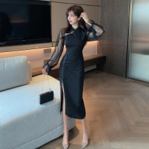 cheongsam Spring 2021 S,M,L black Long sleeves long cheongsam Simplicity High slit daily Oblique lapel Solid color 18-25 years old Piping polyester fiber 51% (inclusive) - 70% (inclusive)