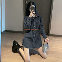 Dress Autumn 2021 Blue, black S,M,L Short skirt singleton  Long sleeves Sweet middle-waisted Solid color Single breasted 18-24 years old A8203 51% (inclusive) - 70% (inclusive) Denim
