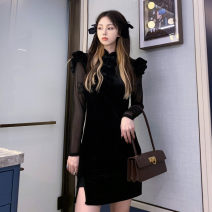 cheongsam Spring 2021 S,M,L,XL black Long sleeves Short cheongsam ethnic style Low slit daily Oblique lapel Solid color 18-25 years old 51% (inclusive) - 70% (inclusive)