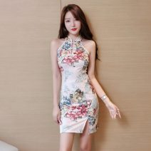 cheongsam Spring 2021 S,M,L,XL Picture color Sleeveless Short cheongsam ethnic style Low slit daily woman's dress buttoned down from right armpit Decor 18-25 years old Piping Other / other other 51% (inclusive) - 70% (inclusive)