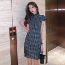 cheongsam Spring 2021 S,M,L,XL Picture color Short sleeve Short cheongsam ethnic style Low slit daily Oblique lapel lattice 18-25 years old Piping 51% (inclusive) - 70% (inclusive)
