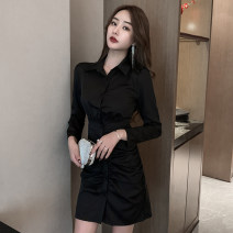 Dress Spring 2021 Khaki, black S,M,L,XL Short skirt singleton  Long sleeves commute Polo collar High waist Solid color Single breasted One pace skirt shirt sleeve Others 18-24 years old Type H Korean version Pleats, buttons 51% (inclusive) - 70% (inclusive) polyester fiber