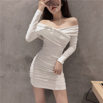 Dress Spring 2021 White, black Average size Short skirt singleton  Long sleeves commute V-neck middle-waisted Solid color Socket Pencil skirt routine 18-24 years old Type A Other / other Korean version fold 51% (inclusive) - 70% (inclusive) acrylic fibres