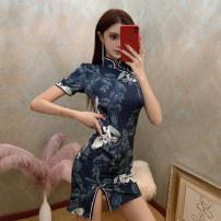cheongsam Spring 2021 S,M,L dark blue Short sleeve Short cheongsam Retro Low slit daily Oblique lapel Decor 18-25 years old Piping polyester fiber 51% (inclusive) - 70% (inclusive)