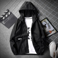 Jacket Cool castle on E Street Youth fashion M L XL 2XL 3XL 4XL routine Self cultivation Other leisure autumn Polyester 100% Long sleeves Wear out Hood tide youth routine Zipper placket Cloth hem No iron treatment Closing sleeve Solid color polyester fiber Spring of 2019 More than two bags)