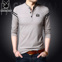 T-shirt youth routine Business Casual Long sleeve thin daily Business gentleman Self cultivation Playboy / Playboy stand collar spring stripe cotton Brand logo Fashion brand Embroidery label Non iron treatment Cotton wool cloth More than 95% 2020 165/M,170/L,175/XL,180/XXL,185/XXXL,190/4XL