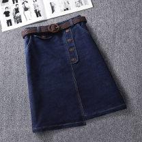 skirt Spring 2021 S,M,L,XL,2XL,3XL Denim Blue [belt] longuette commute High waist Denim skirt Solid color Type A 25-29 years old Q81611 51% (inclusive) - 70% (inclusive) Denim Other / other cotton Korean version
