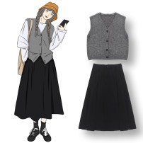 Fashion suit Autumn 2020 Average size White T-shirt, black skirt, wool vest 18-25 years old polyester fiber