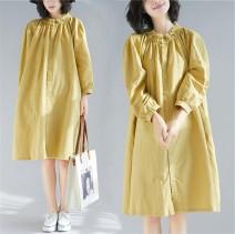 Women's large Autumn 2020 yellow XL (100-150 kg), XXL (150-200 kg) Dress singleton  easy Cardigan Long sleeves Solid color Crew neck Medium length