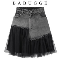 skirt Summer 2020 S,M,L black Short skirt commute High waist A-line skirt Type A 25-29 years old Other / other Pocket, button, mesh, zipper, stitching Korean version