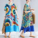 Dress Summer 2020 M,L,XL,2XL Mid length dress singleton  Short sleeve commute Crew neck Loose waist routine Type A Retro 31% (inclusive) - 50% (inclusive) cotton