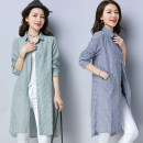 Dress Summer of 2018 Blue, green 2XL,XL,L,M Mid length dress singleton  Long sleeves commute stand collar Loose waist stripe Single breasted shirt sleeve Others 18-24 years old Type H literature 51% (inclusive) - 70% (inclusive) cotton