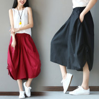 Casual pants Black, red, blue Average size Summer 2021 Cropped Trousers Wide leg pants Natural waist original routine