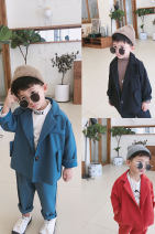 suit Wild bear Blue, black, red 80cm,90cm,100cm,110cm,120cm,130cm male spring and autumn Korean version routine There are models in the real shooting Single breasted nothing other chemical fiber 12 months, 18 months, 2 years old, 3 years old, 4 years old, 5 years old, 6 years old