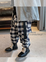 trousers Wild bear male 140cm,130cm,120cm,110cm,100cm,90cm,80cm Main graph color spring and autumn trousers leisure time There are models in the real shooting Casual pants Leather belt High waist cotton Don't open the crotch 6145 Plaid overalls Class B Chinese Mainland Zhejiang Province Huzhou City