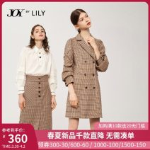Dress Autumn 2020 XS S M L XL Mid length dress singleton  three quarter sleeve commute tailored collar middle-waisted lattice double-breasted Pencil skirt Pile sleeve 25-29 years old Type H Lily / Lily Ol style Button 51% (inclusive) - 70% (inclusive) other polyester fiber